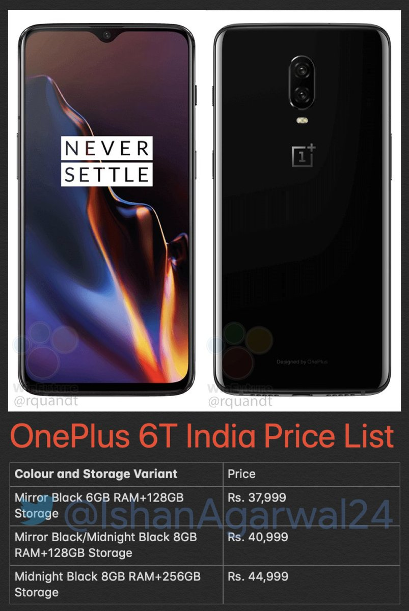 Oneplus 6T Indian Pricing