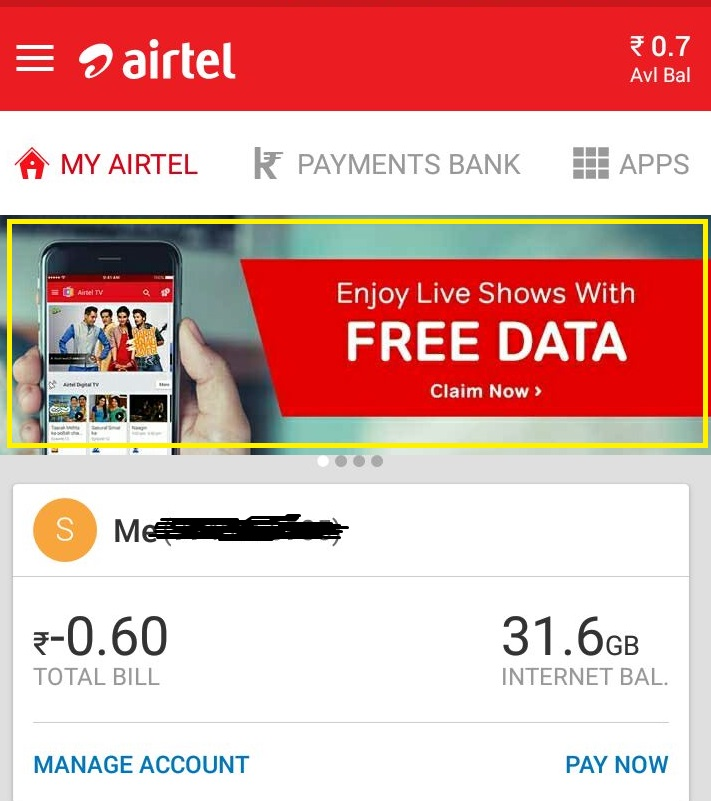 airtel free data 60gb postpaid