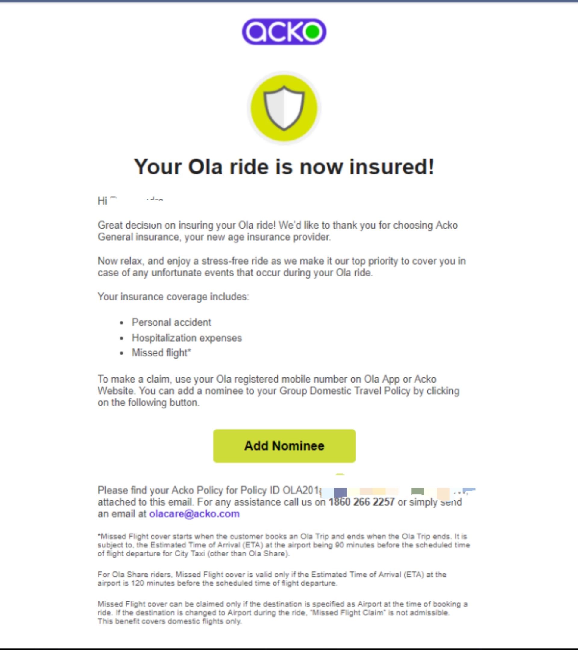 ola ride insurance
