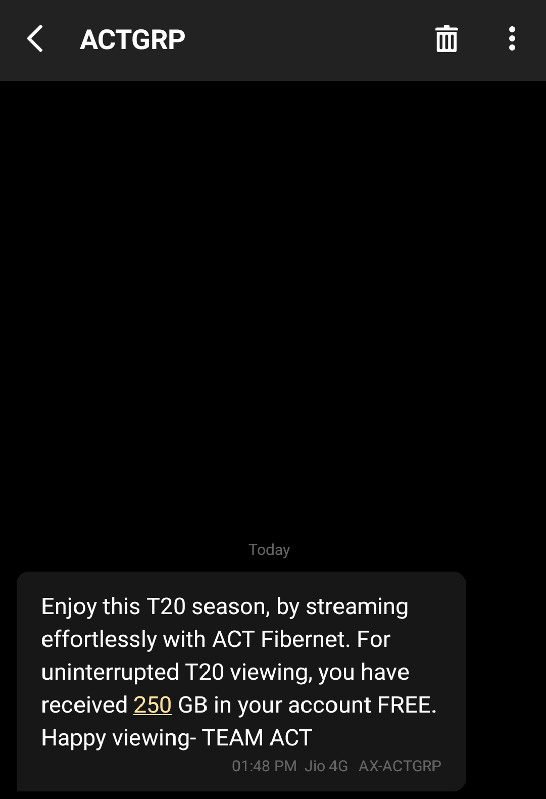act fibernet t20 data surprise