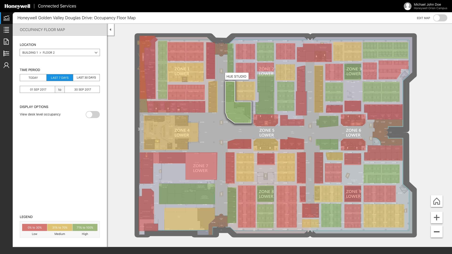 Honeywell Space Sense Occupancy Map