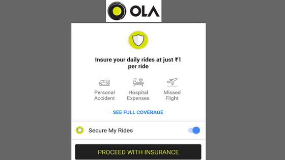 ola cabs ride insurance