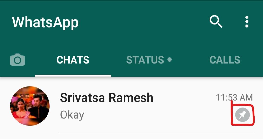 whatsapp pin message